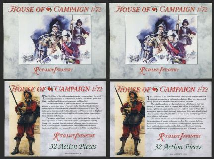 House of Campaign 1.72 scale No. 61 ECW Royalist Infantry (x 64 figs)